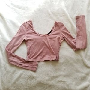 Urban Outfitters Light Pink Long Sleeve Crop
